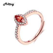 MoBuy MBRI004 Navette Cut Citrine Adjustable Ring 925 Sterling Silver Rose Gold Plated Natural Gemstone Fine Jewelry For Women
