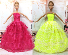 NK Two Set  Princess Doll Wedding Dresses Noble Party Gown For Barbie Doll Fashion Design Outfit Best Gift For Girl' Doll