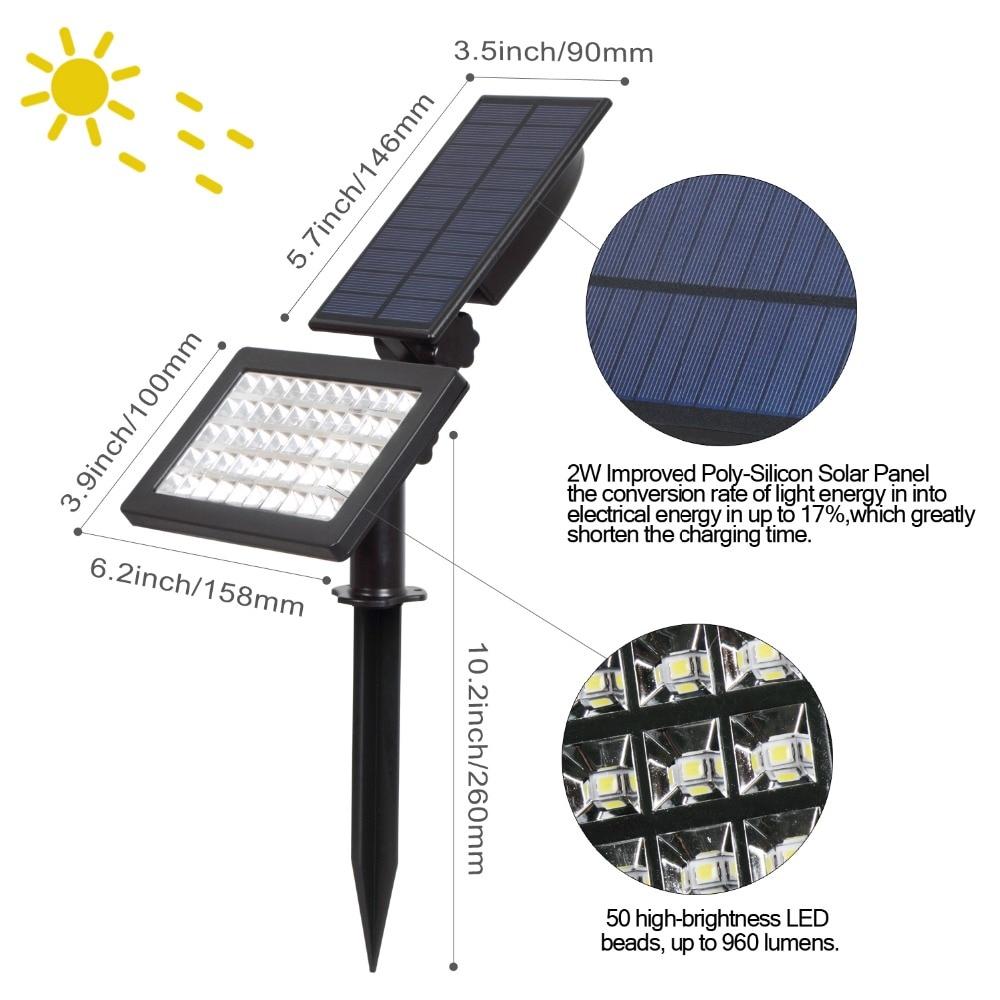 T-SUNRISE 50 LEDs Solar Light Outdoor LED Solar Powered Garden Lights IP44 Waterproof Lawn Lamp Landscape Spot Lights 5