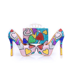2017 Rhinestone Prom Party Shoes with Clutch Handmade Wedding Shoes High Heel Multicolor Cinderella Pumps with Matching Bag