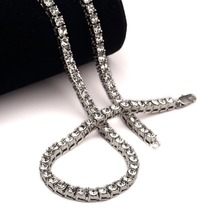 NEW White New Style Iced Out Micro Pave Simulated Clear CZ Mens Hip Hop Shiny Tennis Chain Necklace 78CM Fashion Jewelry Gifts