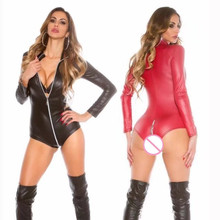 Buy Hot Sale Sexy Lingerie Women Bodysuit Plus Size PU Latex Zipper Open Crotch Jumpsuit Faux Leather Clubwear Pole Dance Women