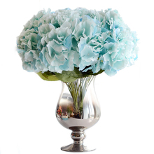2017 Hot!!! Artificial Hydrangea Flower 5 Big Heads Flowers Bride Bouquet Wedding Flower Multicolor Colors(China)