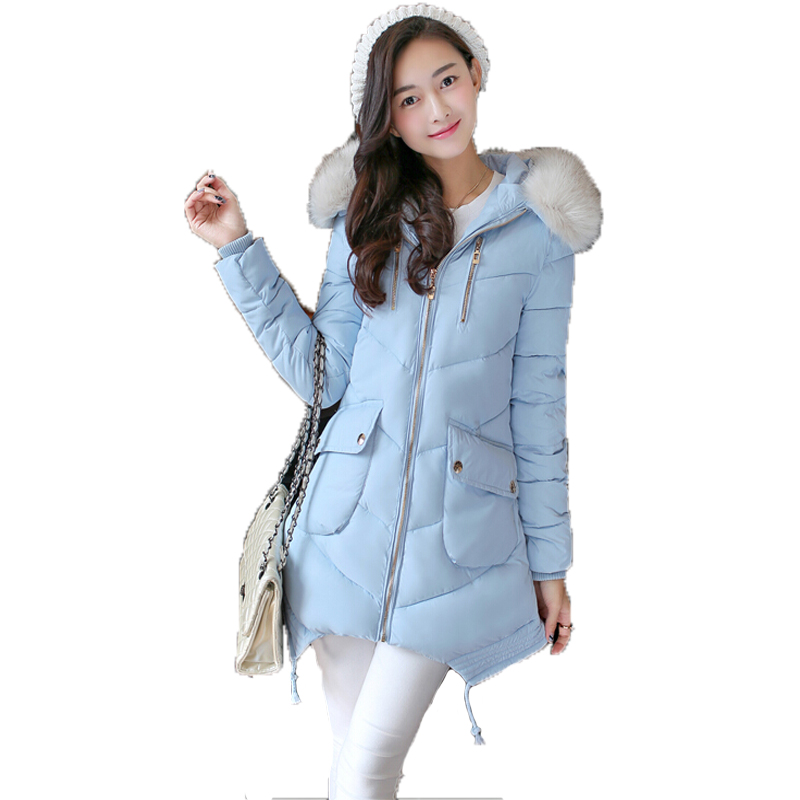 Winter Jacket Women Fur Collar Hooded Padded Jacket Slim Medium-Long Down Jacket Coat Female Snow Warm Parkas Winterjas DamesОдежда и ак�е��уары<br><br><br>Aliexpress