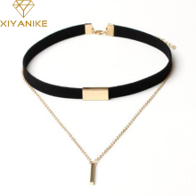 XIYANIKE New Black Velvet Choker Necklace Gold Chain Bar Chokers Necklace For Women collares mujer collier ras du cou N664(China)