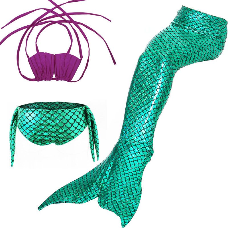 Cosplay Girls Mermaid Tails Swimwear Cosplay Costume Baby Children Lovely Bikini Kids Swimsuit Halloween Fancy Party Dress