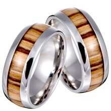 New Arrival Never Fade Vintage Titanium stainless steel ring wood grain ring for men(China)