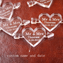 50 pcs Personalized Engraved Clear MR & MRS Surname Arrow Through the Love Heart Wedding souvenirs Gifts Table Decoration Favors