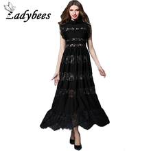 LADYBEES Summer Elegant Black Lace Dress Women Patchwork Party Long Dresses 2017 High Quality Fashion Trending Clothing Vestidos