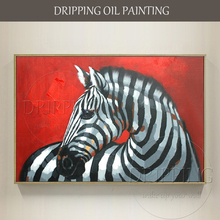 Artist Pure Hand-painted Modern Wall Art Zebra Oil Painting on Canvas Handmade Modern Animal Zebra Oil Painting for Living Room(China)