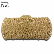 Dazzling Socialite Luxury Women Crystal Clutch Evening Bags Bridal Golden Diamond Wedding Clutches Bag Metal Hardcase Handbag