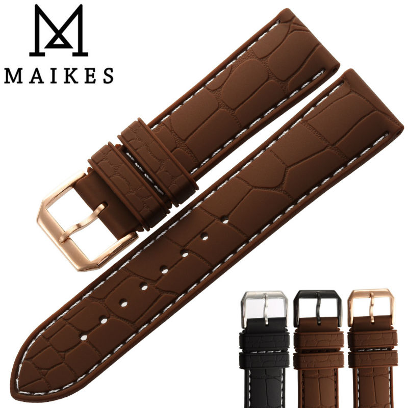 MAIKES 20mm 22mm Silicone Rubber Watch Band Men Dive Sports Black Watchbands White string Watch Strap Rose Gold Buckle<br><br>Aliexpress