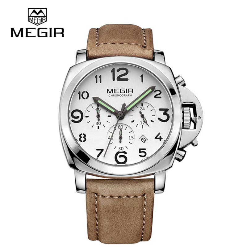MEGIR Chronograph Luminous Mens Watches Top Brand Luxury Waterproof Mens Sport Quartz Watch Genuine Leather Wristwatches Male<br>