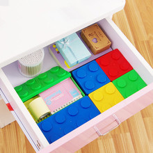4 Colors Colorful Creative Storage Box Plastic Building Block Shape Saving Space Box Superimposed Desktop Office House Organizer