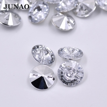 JUNAO 25mm Big Clear White Rhinestones Buttons Sewing Crystal Button Round Strass Stones for Coats Clothing Scrapbooking Crafts
