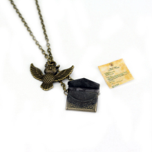Fashion Movie Series Jewelry Vintage Bronze Potter Owl Pendant Post Envelop Jewelry For Friend Mysterious Gift Necklace(China)