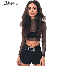 Grid Hollow Out Transparent Sexy T Shirt Women Long Sleeve Spring Summer Black Crop Top Casual Slim Party Club Tops Tees Shirts