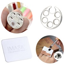 1 Pc Mini Nail Art Metal Finger Ring Palette Acrylic UV Gel Polish Painting Drawing Color Pigment Holder Dish Glue Liquid Plate