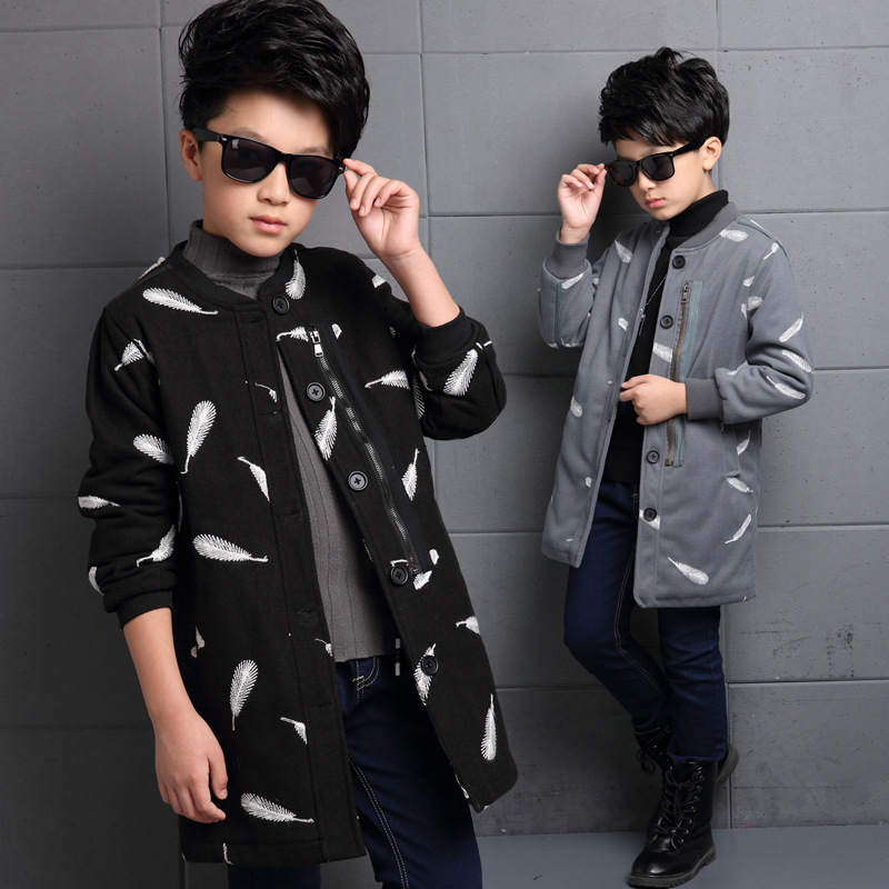 2016 New Boy Leisure Childrens Coat Winter Clothing Woolen Cloth Coat Children Feather Coat Baby Clothes<br>
