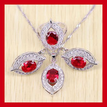 Classic Eye 925 Sterling Silver Red Garnet Jewelry Set For Women Crystal Rings/Earrings/Necklace Free Shipping 0080