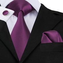2017 Solid Tie Hanky Cufflinks Set 100% High Quality Silk Jacquard Necktie Business Men Gifts Tie Deep Purple Color SN-236(China)