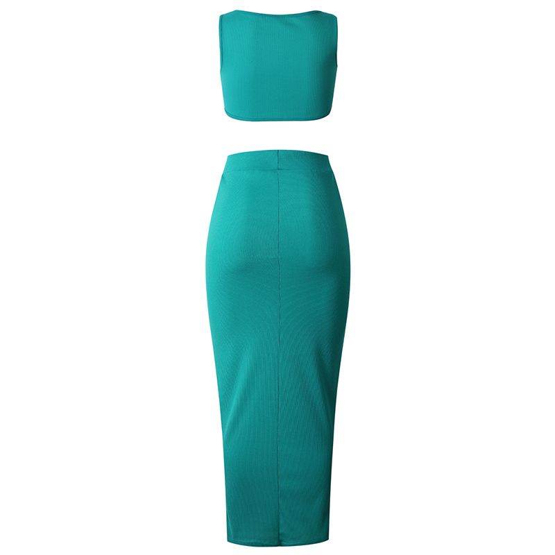 2Pcs Set Women Crop Tops And Skirt Set Matching Set Women Two Pieces Sexy Sleeveless Short Tops+Bodycon Slim Long Skirt Sets