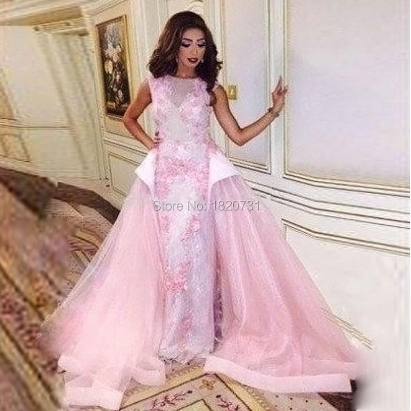 Pink Saudi Arabic Evening Dresses Abaya Fancy Scoop Appliques Middle East Formal Elegant Long Prom Party Gowns Custome Made