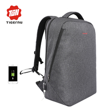 "2017 New Design Tigernu brand men backpack anti-theft External USB charge port for 14"" 17"" laptop backpack school backpack bag"