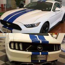 Car Dual Racing Stripe Hood Roof Trunk Decal for Mustang Vinyl sticker #333 Blue