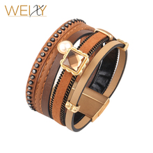 European and American Vintage Multilayer Leather Rhinestone Bracelets Hot new products Pulseiras&Braceletes Wholesale(China)