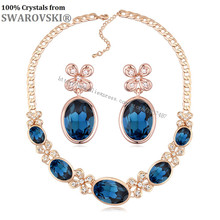 Valentine Sale 2016 romantic lovers gift moon flower earrings and necklace jewelry set Crystals from Swarovski(China)