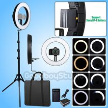Fotoconic DVR-384DVC 15'' / 38cm LED Ring Light + Battery + Charger + 6' 185cm Tripod Stand for Photography Video Photo Camera(China)