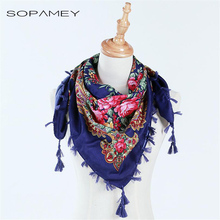 Russia Style National Designs Scarf New Fashion Women Cotton Printing With Four Sides Tassel Large Flower pattern Shawl