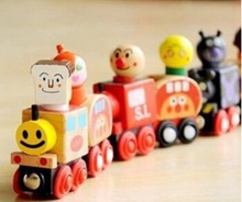 New Wooden toy Factory Direct 6 magnetic Anpanman train children's educational toys magnetic train wooden blocks Free shipping(China)
