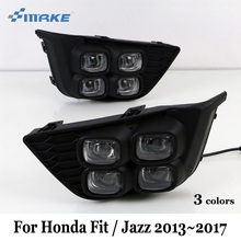 SMRKE DRL For Honda Fit / Jazz 2013~2017 / Three Colors LED Car Daytime Running Lights With Fog Lamp / Four Eyes Car Styling(China)
