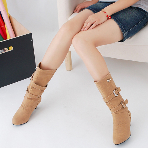 female spring and autumn thick heel yellow Mid calf round toe womens boots<br><br>Aliexpress
