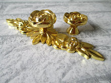 Rose Flower Dresser Knob Pulls Handles gold Kitchen Cabinet Door Handle Vintage Furniture Hardware Decorative(China)