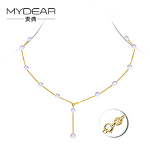 MYDEAR Fine Pearl Jewelry Lately Real 6.5-7mm Akoya Pearls Necklaces Jewelry Cute Gold Pearls Chains Necklaces,Vintage Jewelry(China)