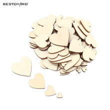 100pcs Plain Wood Simple DIY Wooden Hearts Embellishment Kid Art Decor Scrapbooking Craft Card Painted Varnished Lovely Patten(China)