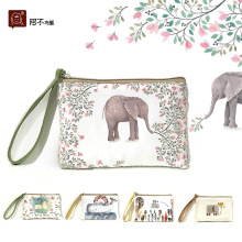 Creative canvas zero wallet cartoon lovely cross section square type retro small fresh(China)