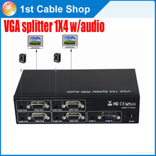 High quality 4-port VGA Splitter 1X4 with audio&power adapter for projector etc. up to 1900X1200 supported