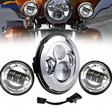 "1 set 7"" LED daymaker Headlight high low beam + 4.5"" 30w Aux Passing Light For Harley Motorcycle (Fits: Harley-Davidson)"