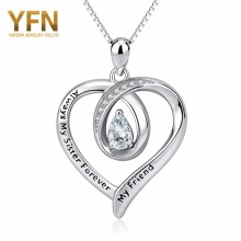 Always My Sister Forever My Friend YFN Geniuses 925 Sterling Silver Crystal Heart Pendants Necklaces Best Gifts For Friend Lover(China)