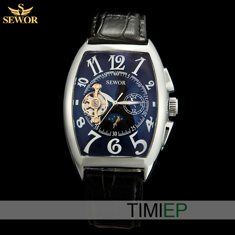 SEWOR Elegant Style Tonneau  Navy Blue  Moon Phase Automatic Mechanical Leather Men Sports Watches<br><br>Aliexpress