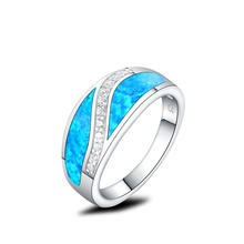 Charm Wave Shape Black Real Created Opal Rings For Women Girls Genuine 925 Sterling Silver Finger Rings Best gift Fine Jewelry(China)
