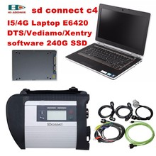 2017 For Mercedes Benz obd2 connector mb star C4+Used laptop E6420 with SD C4 software SSD car diagnostic-tool DHL Free Shipping(China)