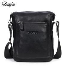 DANJUE genuine Leather shoulder bag men natural leather casual small brand messenger bag Business high quality crossbody bag(China)