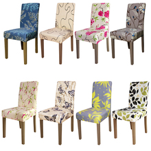 Printing flowers universal size Chair Cover checked pattern Chair Covers seat cover Hotel Party Banquet housse de chaise decor
