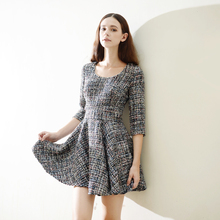 Tweed dress round neck short sleeve 2017 spring / autumn women's small fragrance wind dress high waist a-line dress