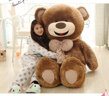 large 150cm happy smile face  brown teddy bear with bowtie plush toy pillow Valentine's Day present ,birthday gift w5467